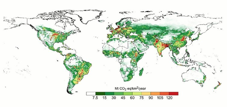 Greenhouse gas emissions from global livestock 1995-2005. Red areas represent more greenhouse gases. Herrero et al 2016 Nature Climate Change