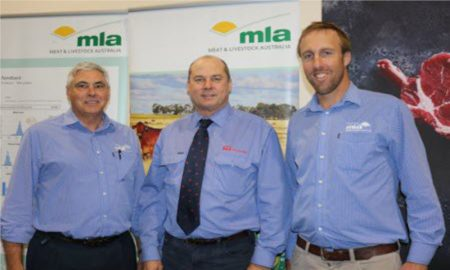 MLA Program Manager - GrainFed, Live Export and Goat, Des Rinehart, with ALFA R&D committee chair & manager of Whyalla Feedlot, Tony Fitzgerald, and MLA Project Manager – Feedlot, Dr Joe McMeniman, at BeefEx 2018.