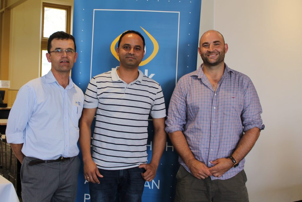 Charles Rikard-Bell, Pork CRC, Nishchal Sharma, ACE Livestock Consulting and Will van Wettere, University of Adelaide at the 2018 Science and Practice of Pig Production course.