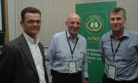 APRIL CEO & Chief Scientist, Prof John Pluske (right) described the ARC grant as significant, with improving pig welfare a hot button issue in the Australasian pork industry. He was pictured in Melbourne at the recent APRIL stakeholders' day with APRIL Chairman Dennis Mutton (centre) and APRIL Manager Commercialisation and Research Impact, Dr Charles Rikard-Bell. Image courtesy of APRIL