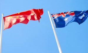 china australia flags stock image