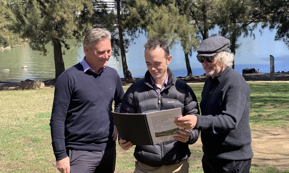 Andreas Glanznig (CEO, CISS – left) and Richard Price (Portfolio Director, CISS – right) welcome Dr Matt Sheehan (middle) to the role of National Coordinator for the implementation of the National Environment and Community Biosecurity Research Development and Extension Strategy, over the next two years.