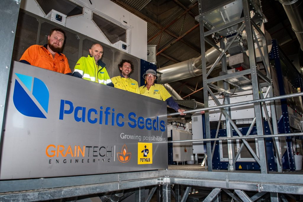 Featured Joe McDonald from Graintech Engineering with Craig Coleborn, Tim Rathbone and Angus Rathie, Pacific Seeds